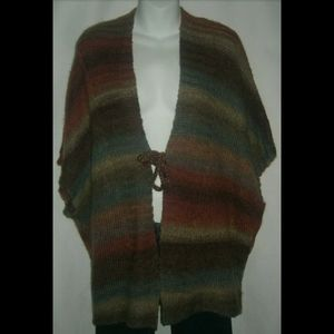 Lane Bryant Striped Cardigan W/ Tie Sweater Poncho
